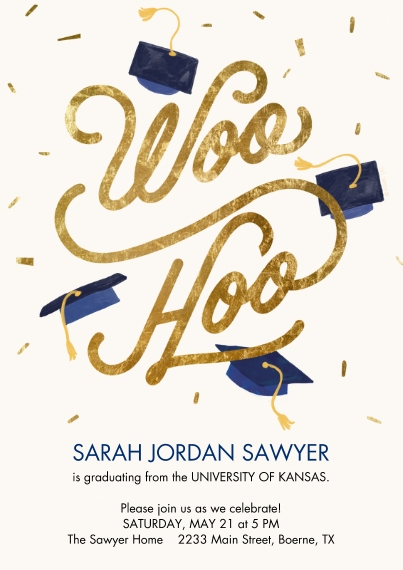 Party Invitations 5x7 Cards, Premium Cardstock 120lb with Rounded Corners, Card & Stationery -Gold & Blue Confetti Woo Hoo by Hallmark