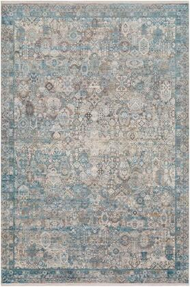 SOR2314-23 2' x 3' Rug  in Medium Gray and Aqua and Dark Blue and Light Gray and Ivory and Charcoal and