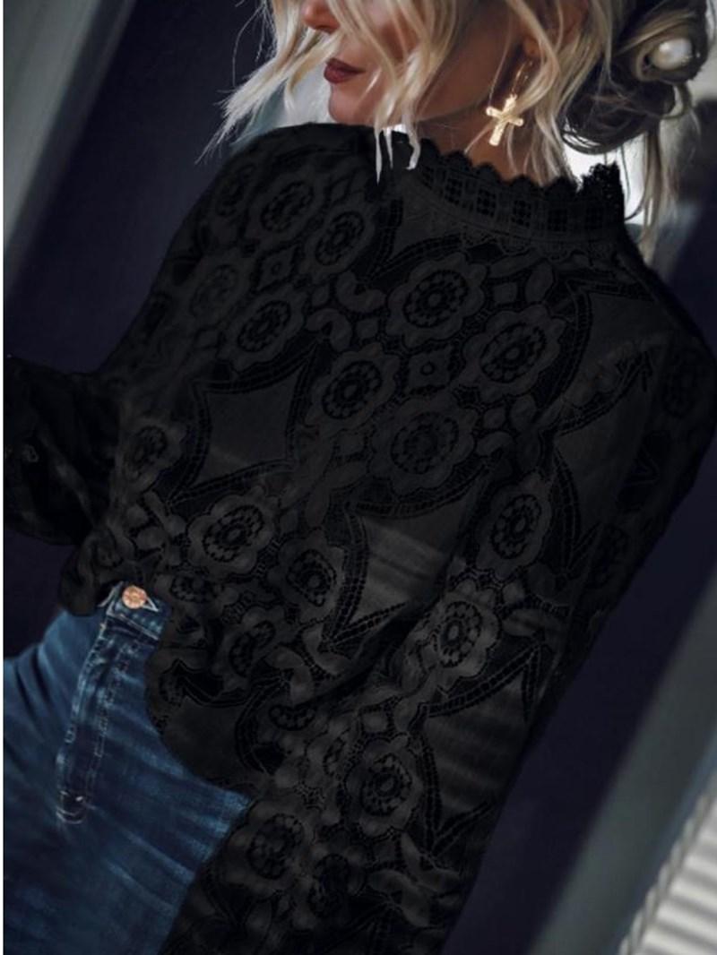 Ericdress Geometric Patchwork Stand Collar Long Sleeve Standard Blouse