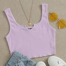 Notched Neck Rib-knit Crop Tank Top
