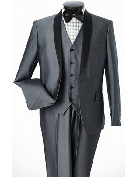 Men's Lorenzo Bruno Slim Fit Shiny Gray Shawl Lapel 1 Button Suit
