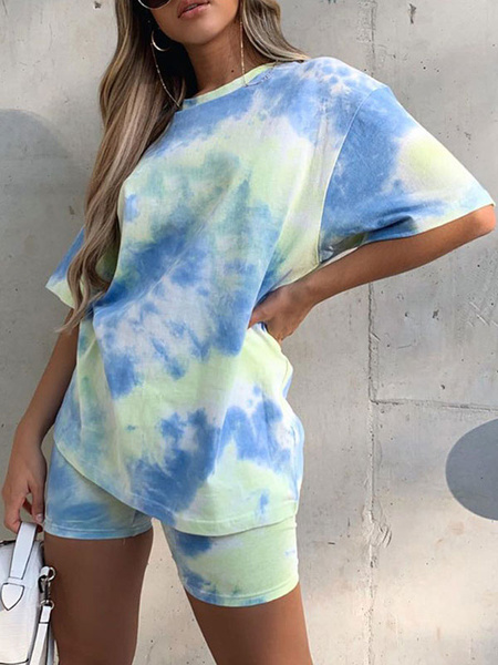 Milanoo Two Piece Sets Light Sky Blue Polyester Cotton Tie Dye Casual Top With Elastic Shorts