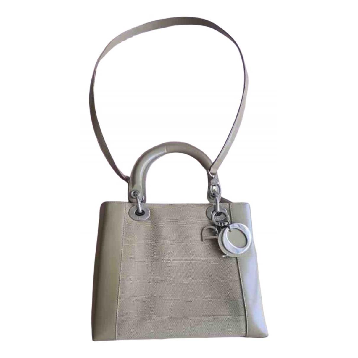 Dior Lady Dior Handtasche in  Beige Leinen