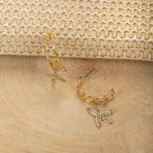 Starfish Charm Chain Link Half Mini Hoop Earrings