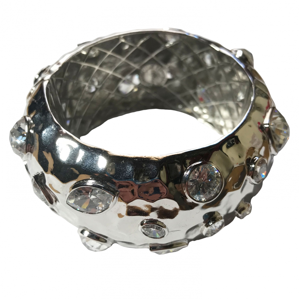 Non Signe / Unsigned Manchette Armband in  Silber Metall