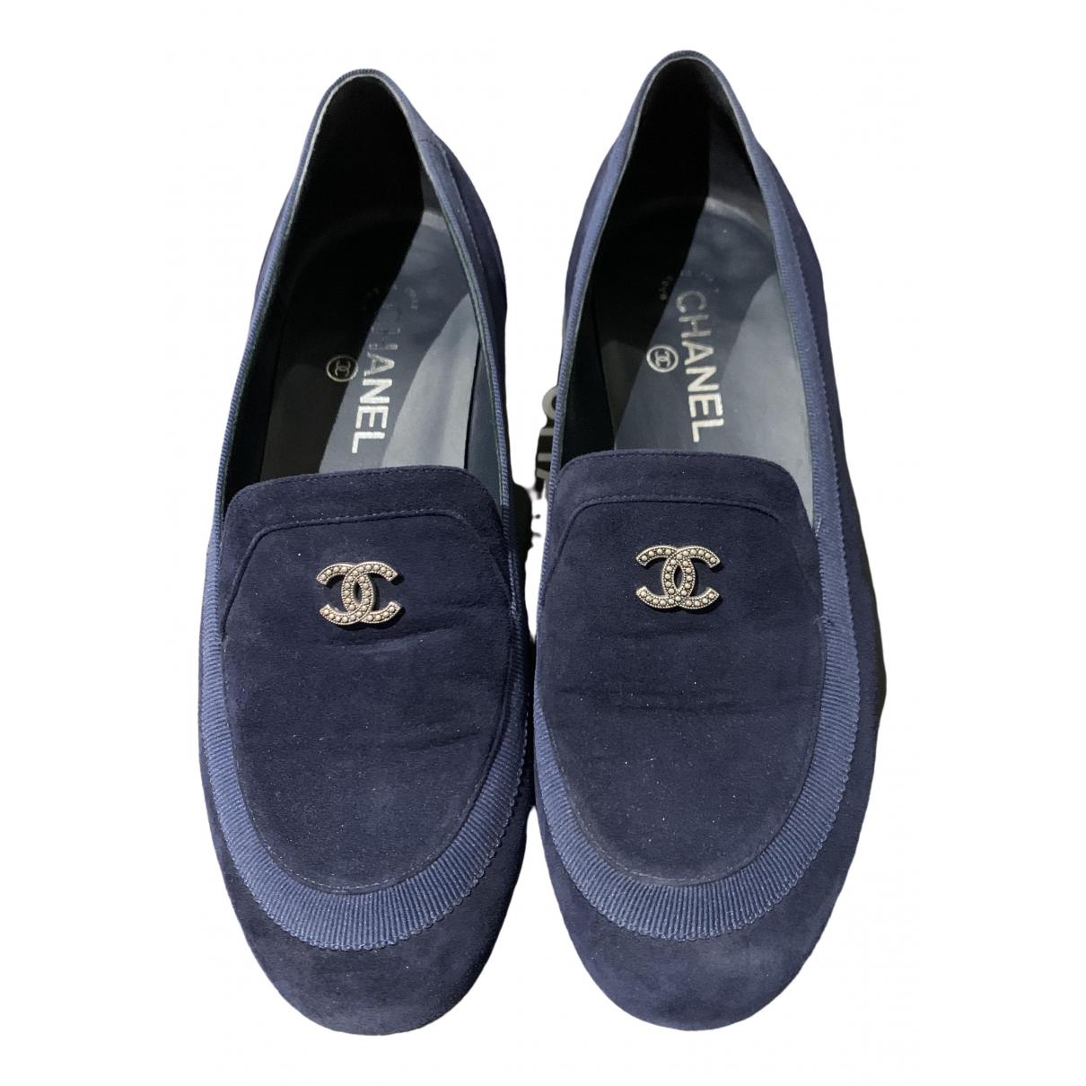 Chanel \N Navy Velvet Flats for Women 39 EU