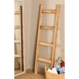 Solid Wood 6 ft. Handmade Decorative Ladder Rack (Light Brown - 5 FT)