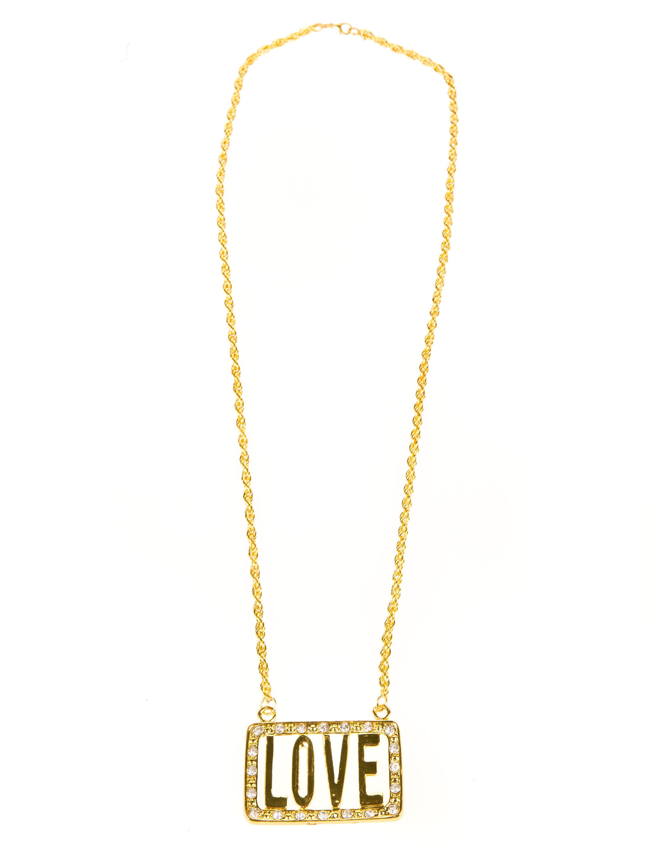 Kostuemzubehor Halskette Love gold