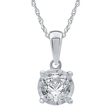 Womens 1/2 CT. T.W. Genuine White Diamond 10K White Gold Pendant, One Size , No Color Family