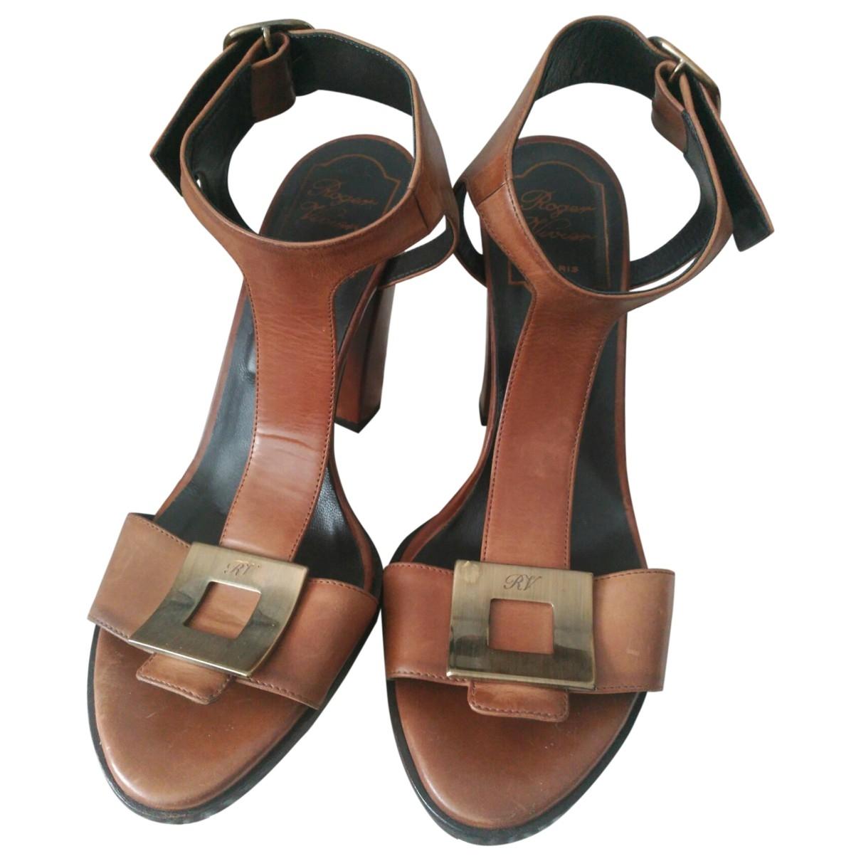 Roger Vivier \N Brown Leather Sandals for Women 37 EU