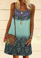 Vintage Gradient Floral Mini Dress without Necklace - Light Green