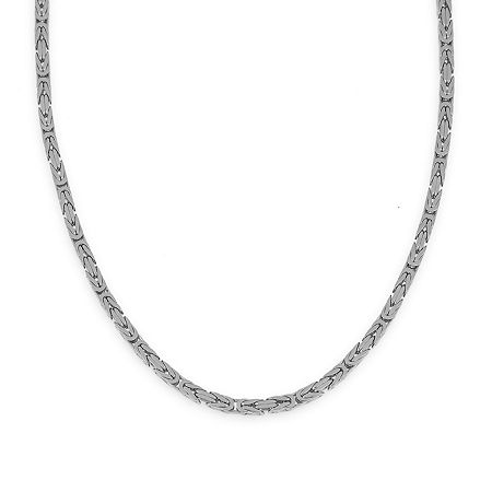 Made in Italy 14K White Gold 080 Solid Byzantine Chain, One Size , No Color Family