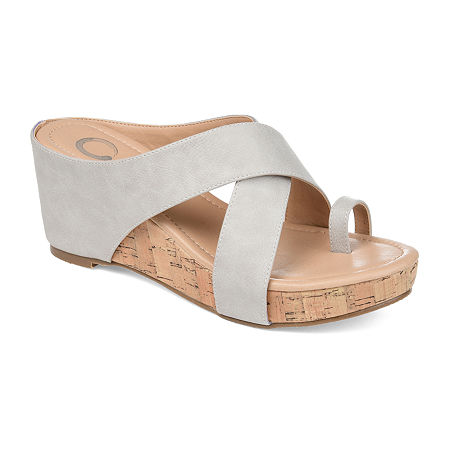 Journee Collection Womens Rayna Wedge Sandals, 8 Medium, Gray