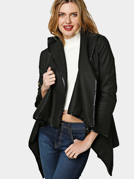 Yoins Black High Neck Front Wrapped Trench Coat