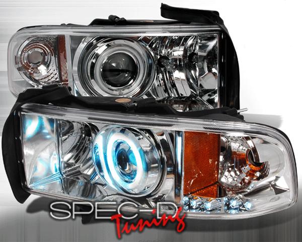SpecD Chrome CCFL Halo Projector Headlights Dodge Ram 94-01