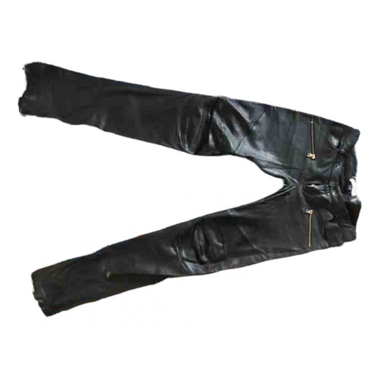 Pierre Balmain N Black Leather Trousers for Women L International