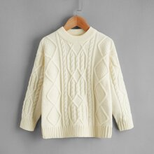 Toddler Girls Cable Knit Solid Sweater