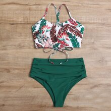 Bikini Badeanzug mit tropischem Muster, Rueschen und hoher Taille