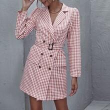 Vestido blazer de cuadros con cinturon con hebilla con solapa de cuello V