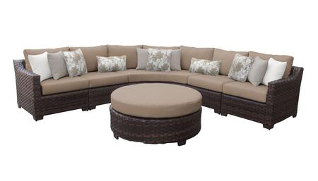 RIVER-06h-WHEAT Kathy Ireland Homes and Gardens River Brook 6-Piece Wicker Patio Set 06h - 1 Set of Truffle and 1 Set of Toffee