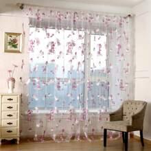Transparenter Vorhang mit Karikatur Baeren Muster