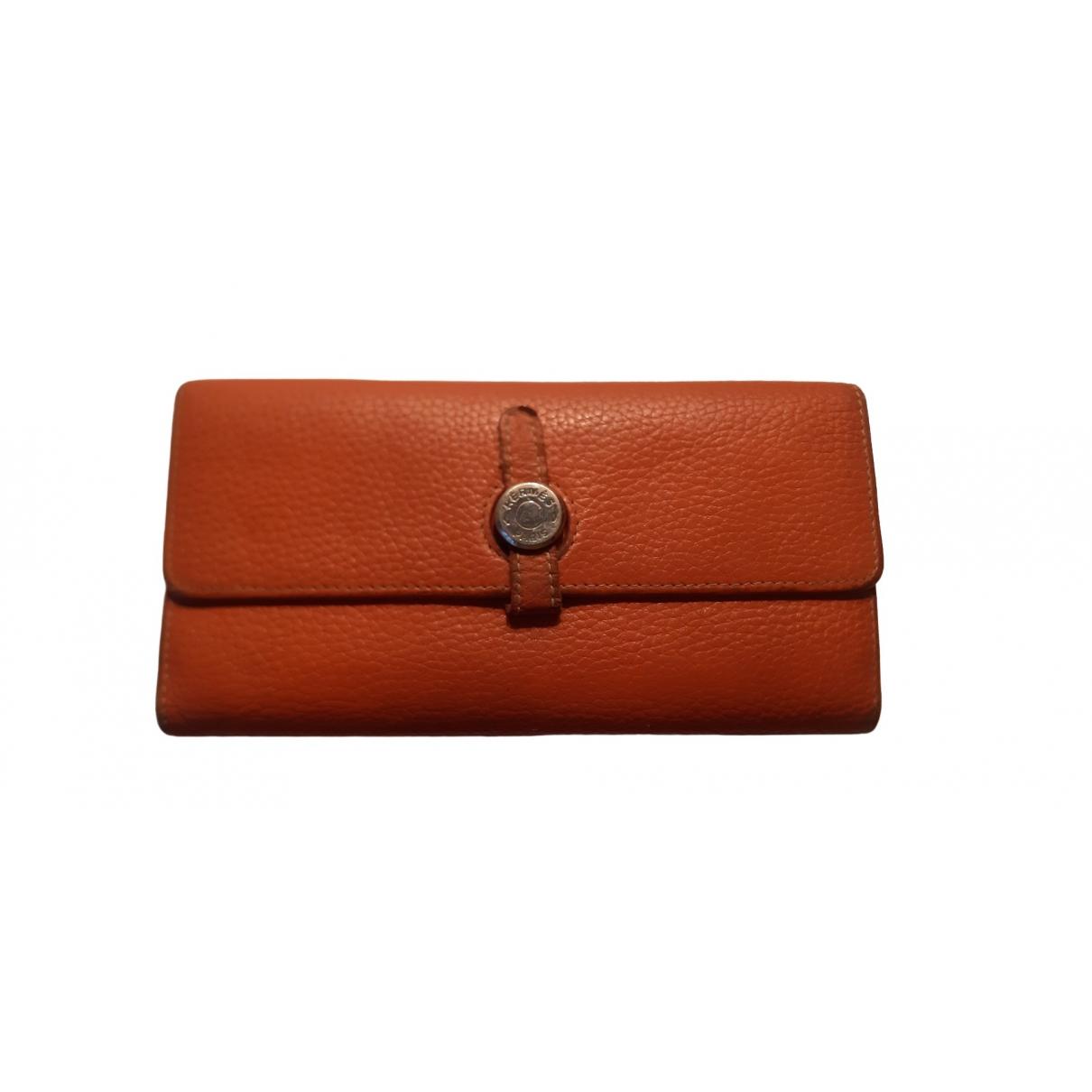 Hermes Dogon Portemonnaie in  Orange Leder