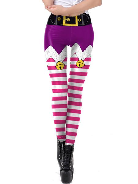 Milanoo Disfraz Halloween Legging navideño de mujer Patron navideño Pantalon flaco Vacaciones Trajes Halloween