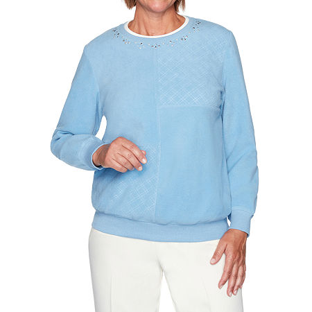 Alfred Dunner Classics Womens Crew Neck Long Sleeve Sweatshirt, X-large , Blue