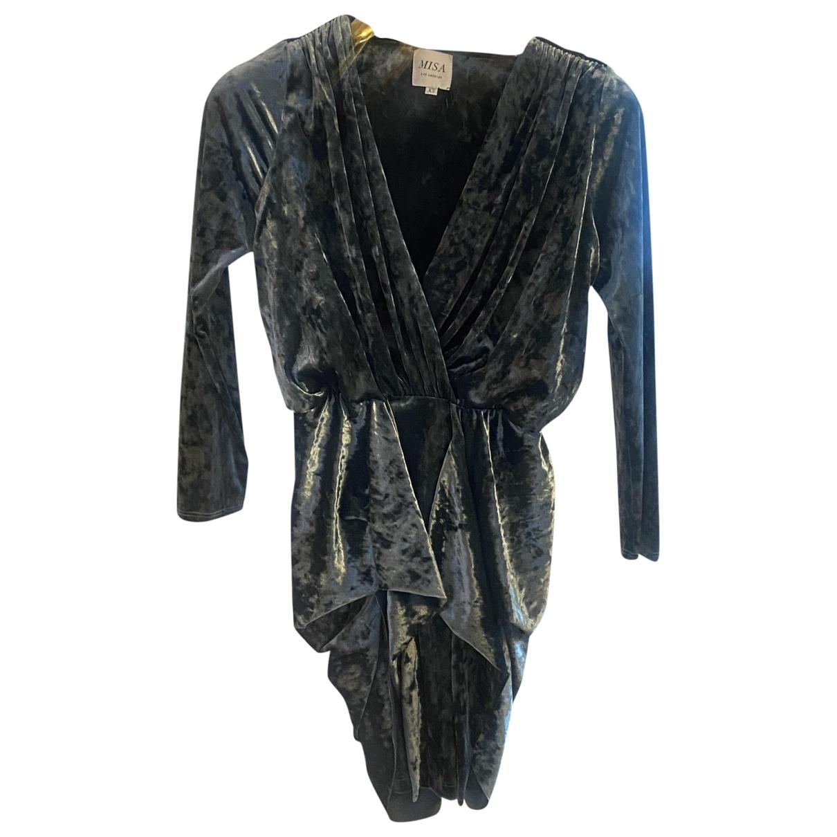Misa \N Kleid in  Blau Samt