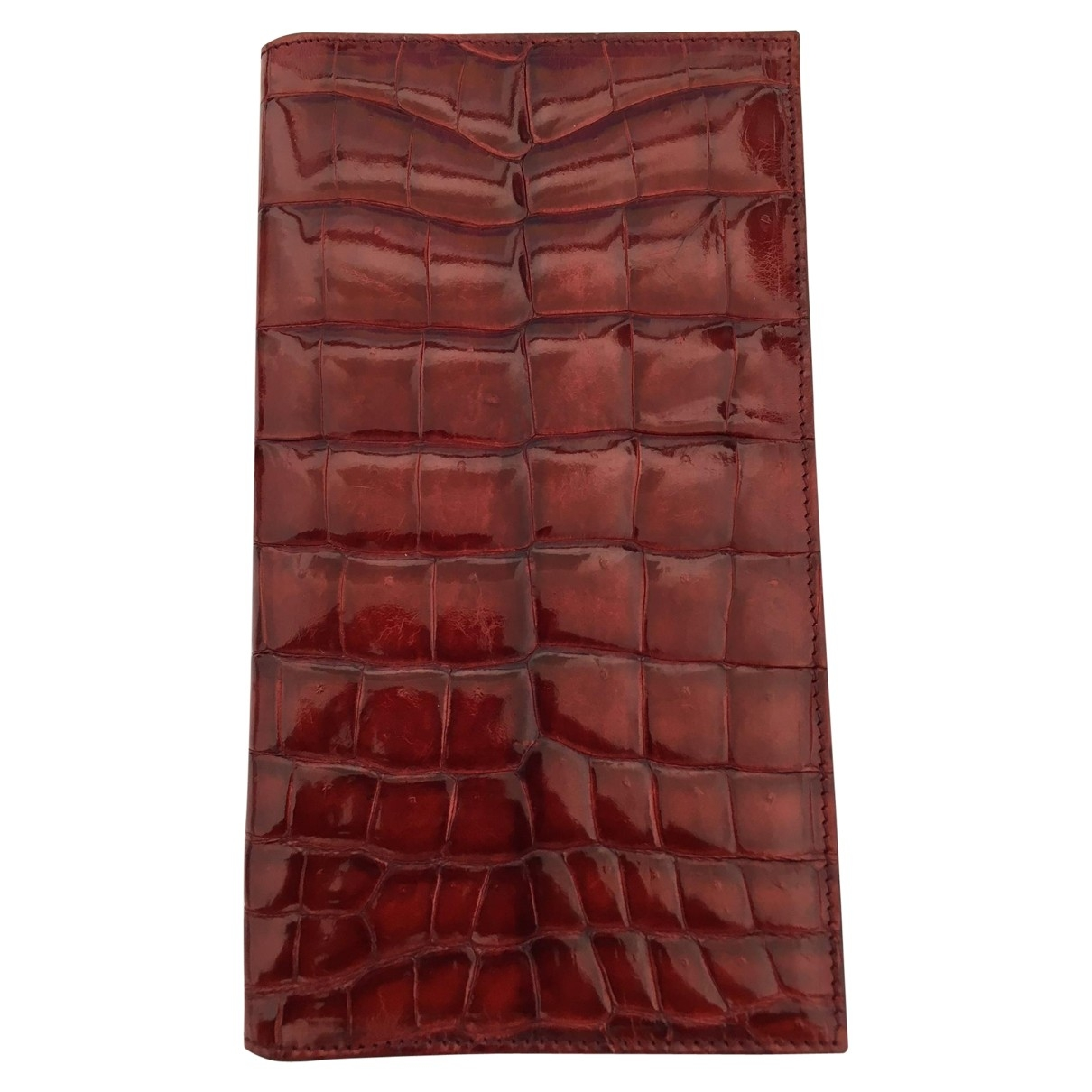 Non Signé / Unsigned \N Red Crocodile wallet for Women \N