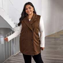 Plus Lapel Neck Double-breasted Vest Coat