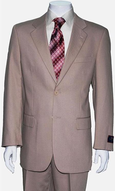 Mens Two Button Tan Shadow Stripe Suit