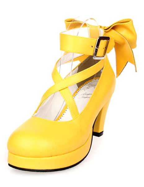 Milanoo Sweet Lolita Shoes Platform Heels Bow Round Toe Cross Front Lolita Pumps