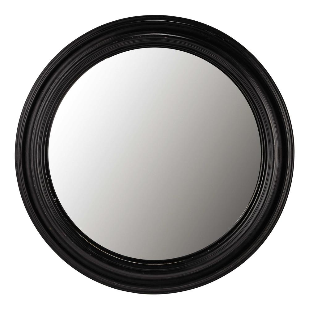 Konvexer Spiegel mit schwarzem Paulownienholz, D.90