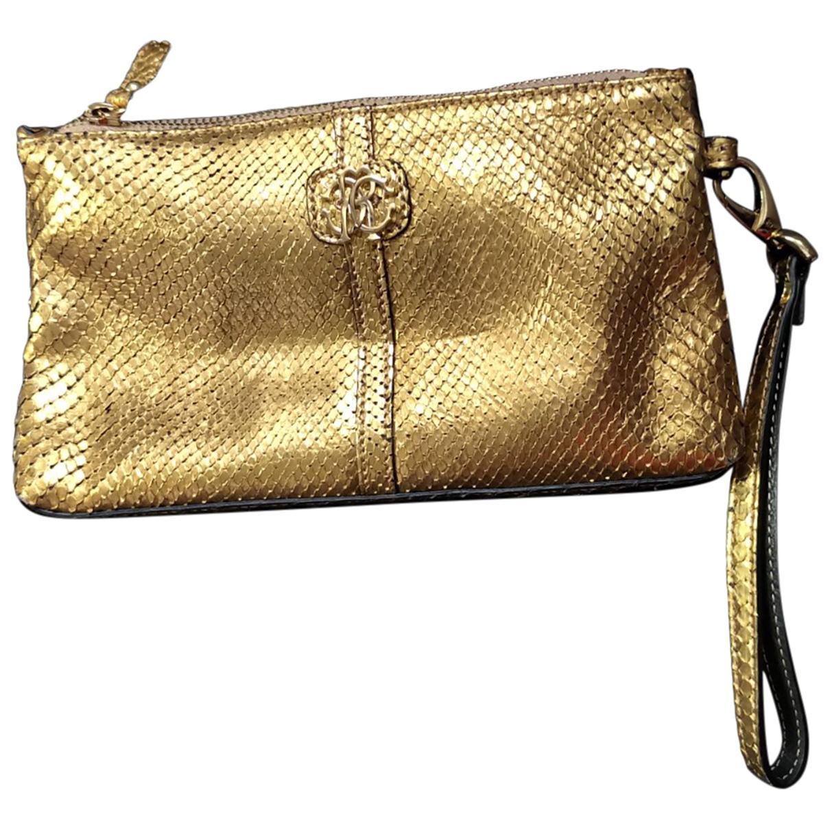 Roberto Cavalli \N Clutch in  Gold Leder