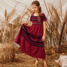 Girls Striped & Floral Smock Dress