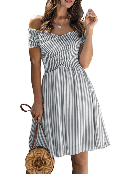 Milanoo Stripe Summer Dress Off The Shoulder Beach Dress