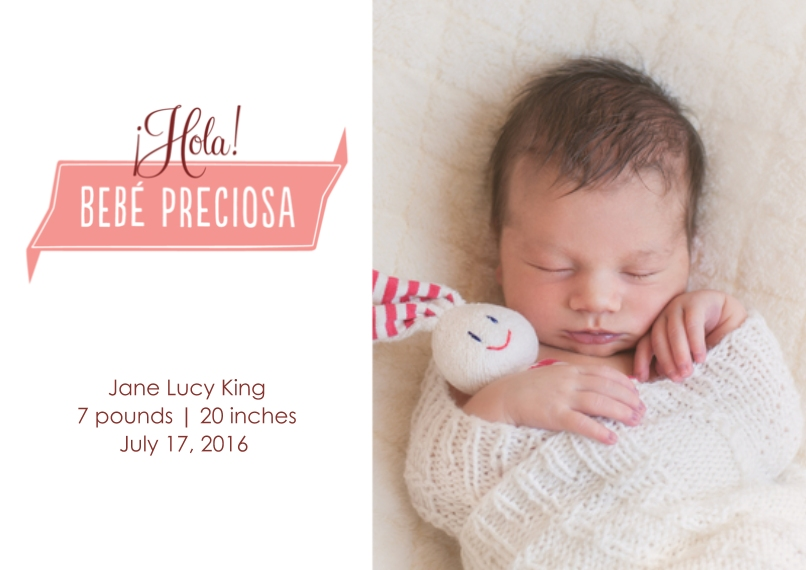 Newborn 5x7 Cards, Premium Cardstock 120lb with Rounded Corners, Card & Stationery - Bebé preciosa