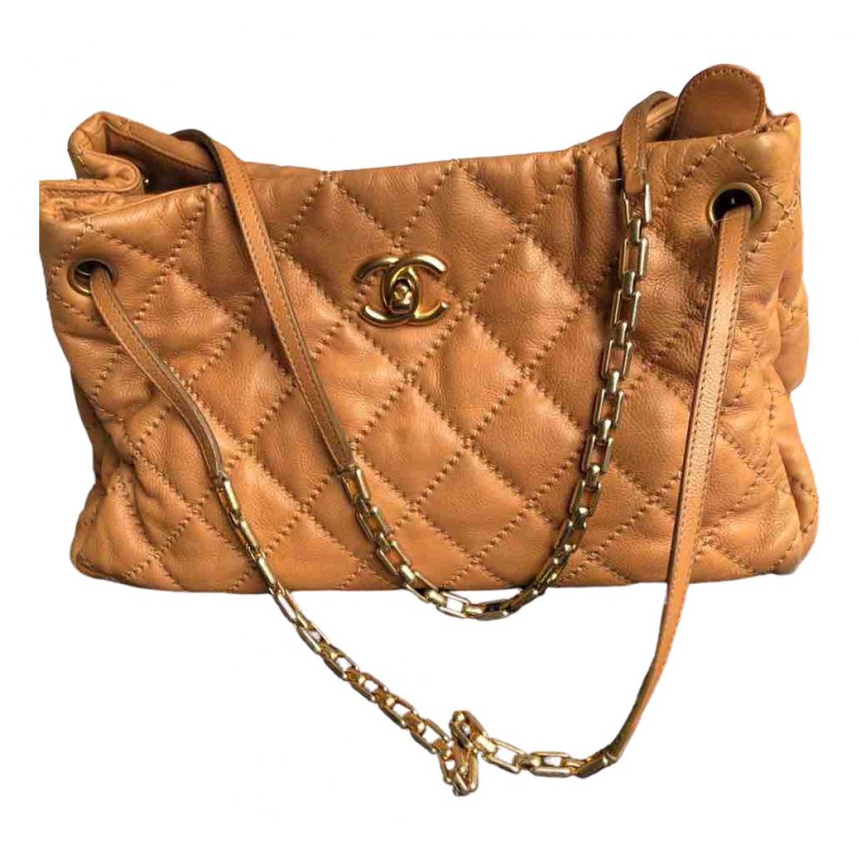 Chanel - Sac a main   pour femme en cuir - camel