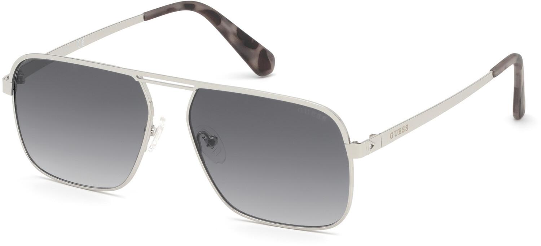 Guess Men's Mirrored Gu6939 GU6939-10B-58 Matte Silver Rectangle Sunglasses