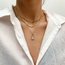 Paper Clip Chain With Lock Layered Necklace