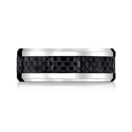 Mens Cobalt with Carbon Fiber Inlay 8mm Wedding Band, 11 1/2 , No Color Family