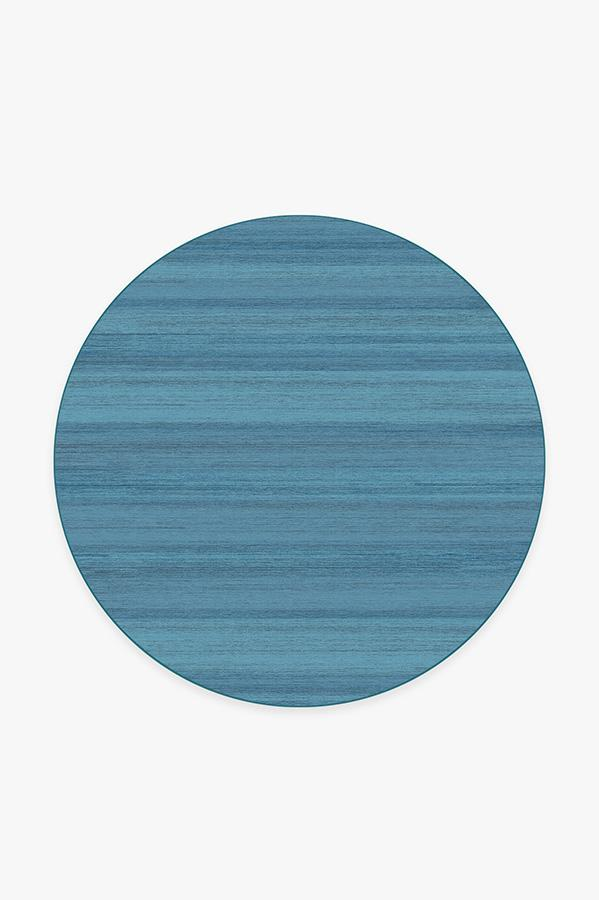 Washable Rug Cover | Solid Tonal Ocean Blue Rug | Stain-Resistant | Ruggable | 6 Round