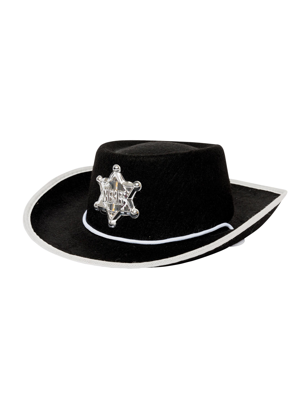Kostuemzubehor Cowboyhut mit Sheriff Stern schwarz 55