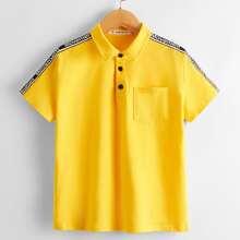 Boys Patch Pocket Letter Tape Shoulder Polo Shirt