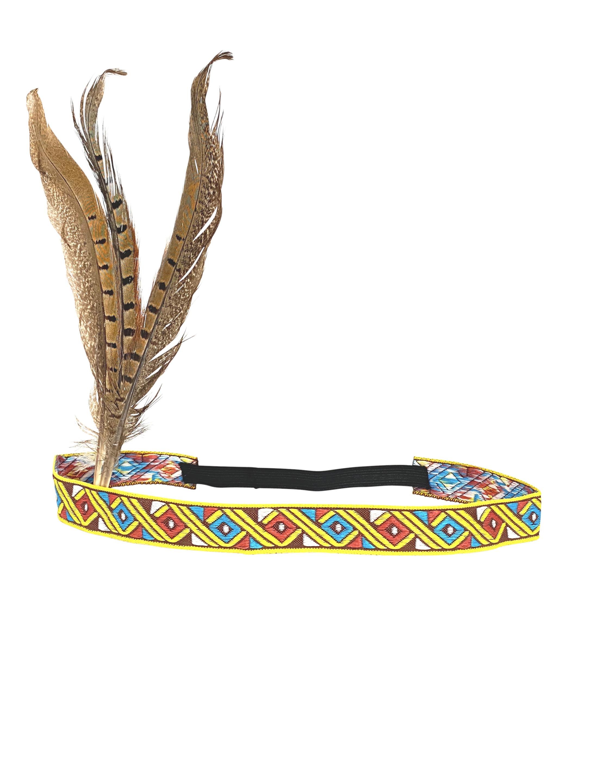 Kostuemzubehor Indianerstirnband mit 3 Fasanenfedern Farbe: braun