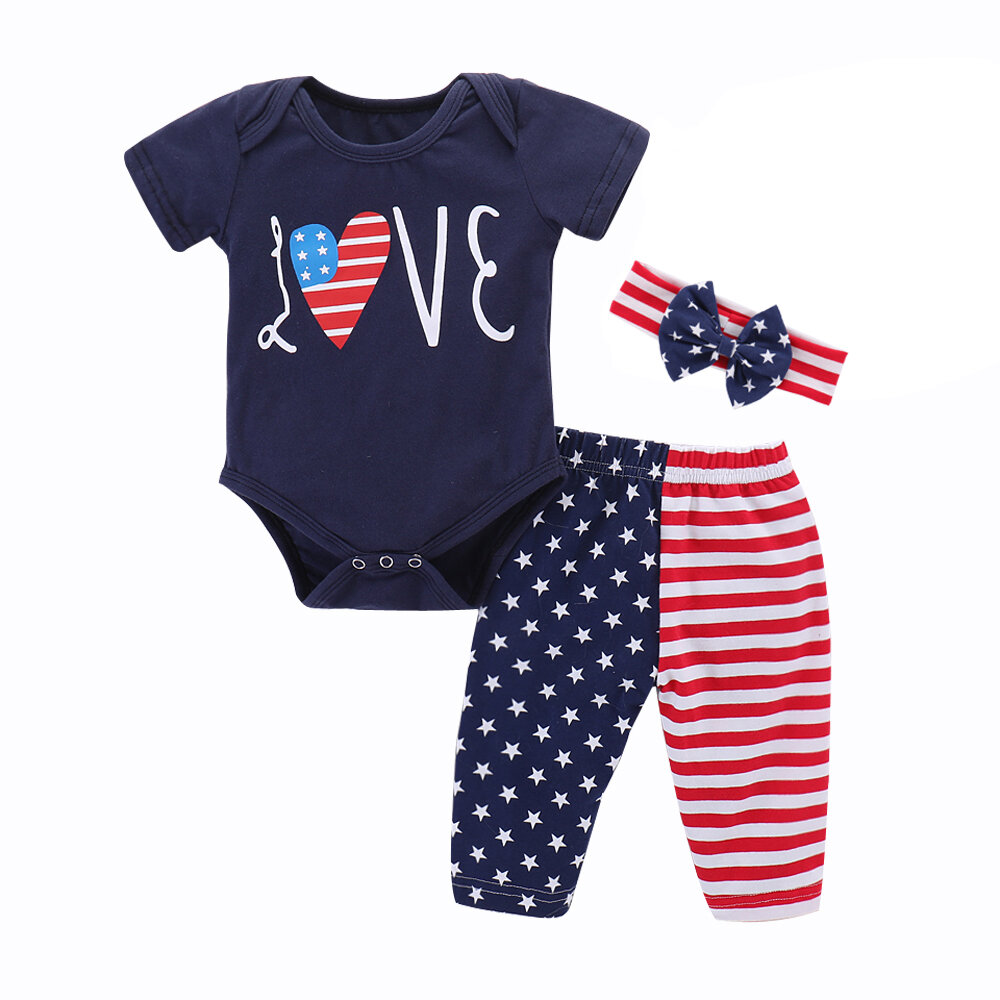 Flag Outfits Newborn Toddler Infant Baby Girl Boy Kid Romper Shorts Sunsuit Clothes