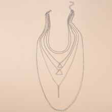 Triangle & Bar Layered Necklace