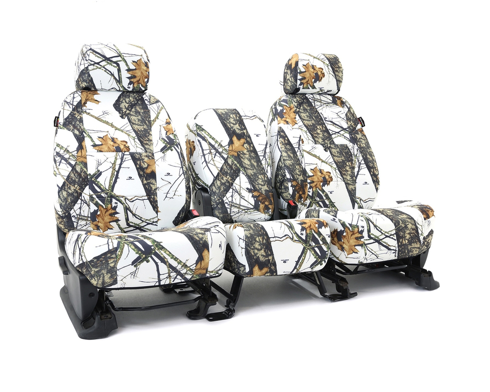 Coverking CSCMO09CH10149 Skanda Custom Seat Covers 1 Row Neosupreme Mossy Oak Break Up Winter Print Solid (PMS 2718 C) Front Chevrolet Silverado 1500