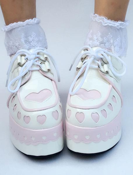 Milanoo Sweet Lolita Shoes Platform Wedge Lace Up Heart Round Toe Lolita Footwear